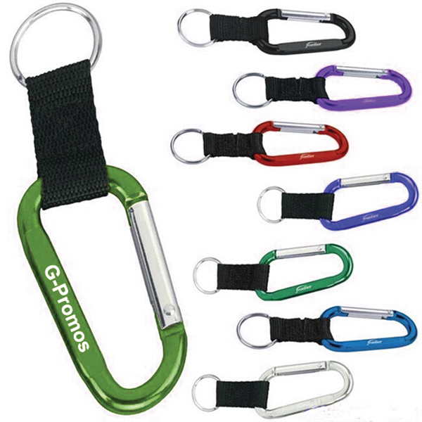 Aluminum Carabiner with Lanyard and Keychain