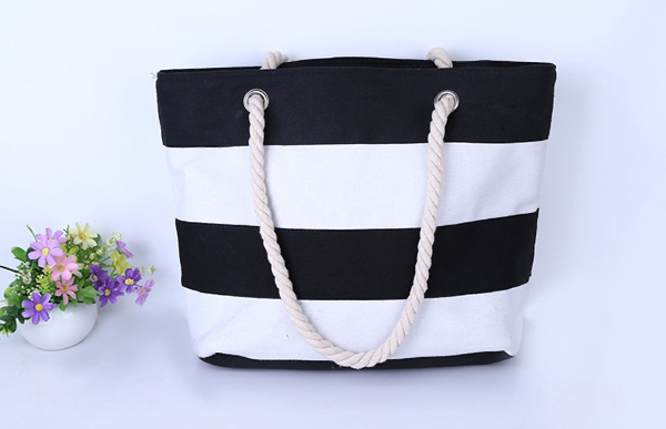 Big Striped Canvas Tote Bag