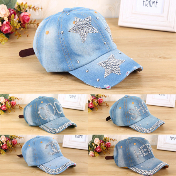 Cool letter embossed jean baseball cap