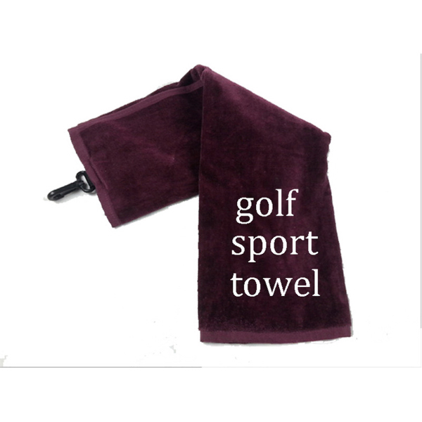 Cotton golf sports towel with a plastic hook