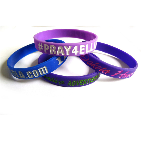 Custom Debossed Silicone Bracelets With Color filled