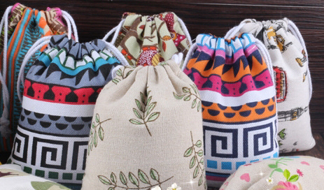 Flax Drawstring Bags With Various Colors & Designs