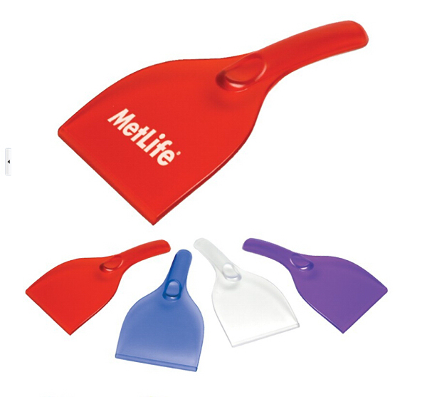 Plastic hand ice scraper for automobile window cleaning