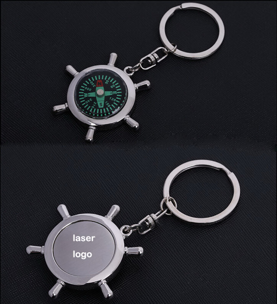 Rudder key ring with compass