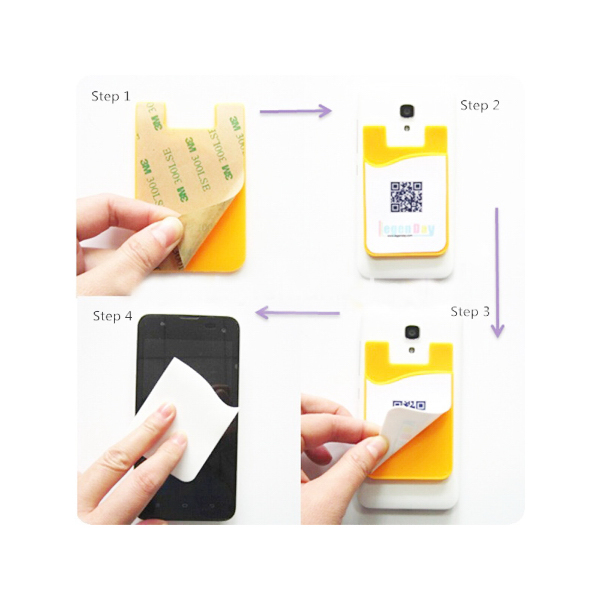 Silicone Card Holder with Screen Cleaner Sticker