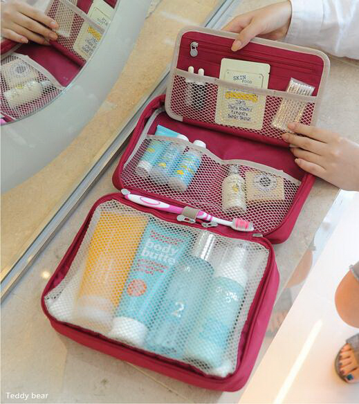 Wholesale foldable hanging cheap travel toilet bag