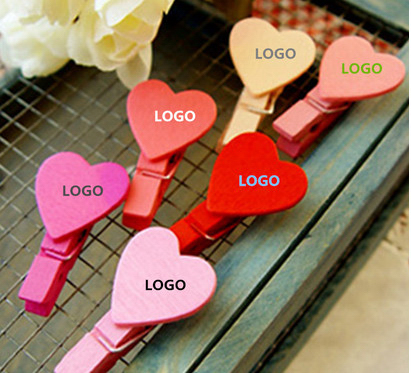 Wooden love heart shape small clips