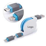 2-in-1 Retractable Custom USB Charging Cable