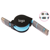 2 in 1 Retractable USB Charger Data Cable Cord