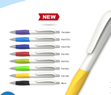 2016 New design of ball pens white balls with colorful trims