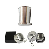 2oz Collapsible Steel Cup With Keychain