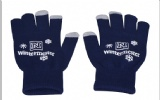 navy blue color Touch Screen Glove with white imprinted