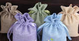 A Small Bag Of Flax Linen Drawstring Bag