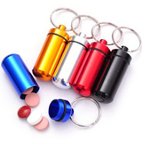 Box Keychain, Mini Aluminum Pill Bottle Keyring