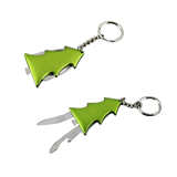 Christmas Tree Shaped Key Chain with Knife and Opener