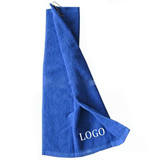 Cotton golf sports towel with a metal hook
