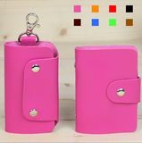 Cute PU leather key credit holder organizer set