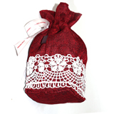 Cute small bag of flax linen drawstring bag w/white wrapping