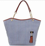 Fashion Women Stripe Snap Tote Canvas Shoulder Bag