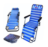 Folding recliner chair with pillow, portable reclining chair