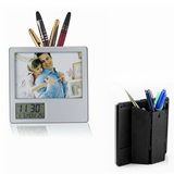 Frame Desktop Digital Alarm Clock & Pen Holder