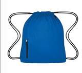 High density polyester drawstring backpack with front Zipper