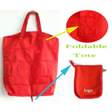 Red Zipper Foldable Tote Bag