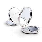 Silver Round Folding Compact Mirror