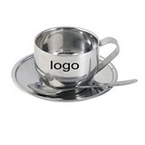 Stainless Steel Coffee Cup, Coaster Cup Mat Cup Set