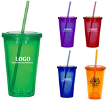 Tumbler with Straw,Double wall Acrylic Travel Tumbler with S